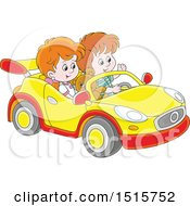 Clipart Of A White Boy And Girl Playing In A Car Royalty Free Vector Illustration