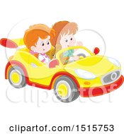 Clipart Of A Caucasian Boy And Girl Playing In A Car Royalty Free Vector Illustration
