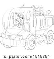Black And White Boy Driving A Toy Dump Truck With Stuffed Animals