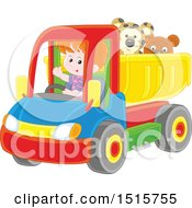 Caucasian Boy Driving A Toy Dump Truck With Stuffed Animals