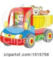 White Boy Driving A Toy Dump Truck With Stuffed Animals