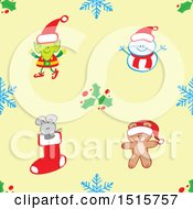 Clipart Of A Seamless Christmas Pattern Background Of A Teddy Bear Mouse Elf And Snowman With Snowflakes And Holly Royalty Free Vector Illustration by Zooco