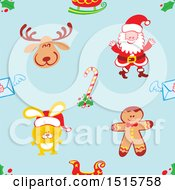 Clipart Of A Seamless Christmas Pattern Background Of A Reindeer Santa Sleigh Candy Cane Envelope Rabbit And Gingerbread Man Royalty Free Vector Illustration