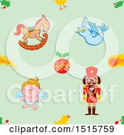 Poster, Art Print Of Seamless Christmas Pattern Background Of A Rocking Horse Bauble Bird Angel And Nutcracker