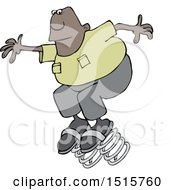 Clipart Of A Cartoon Black Man Springing Forward On Bouncy Shoes Royalty Free Vector Illustration