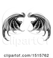 Clipart Of A Black And White Woodcut Or Engraved Pair Of Bat Or Dragon Wings Royalty Free Vector Illustration