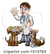 Cartoon Happy May Veterinarian Standing With A Dog And Cat