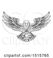 Clipart Of A Black And White Swooping American Bald Eagle With A Bowling Ball In His Talons Royalty Free Vector Illustration