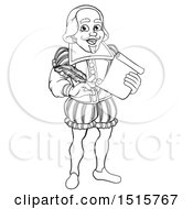 Clipart Of A Black And White Full Length Happy William Shakespeare Holding A Scroll And Quill Royalty Free Vector Illustration
