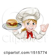 Happy White Female Chef Gesturing Ok And Holding A Cheese Burger On A Tray