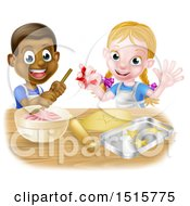Clipart Of A Cartoon Happy Black Boy And White Girl Baking Star Shaped Cookies Royalty Free Vector Illustration by AtStockIllustration