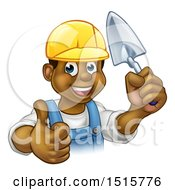 Clipart Of A Black Male Mason Worker Holding A Trowel And Giving A Thumb Up Royalty Free Vector Illustration by AtStockIllustration