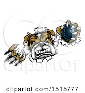 Clipart Of A Tough Bulldog Monster Shredding Through A Wall With A Bowling Ball In One Hand Royalty Free Vector Illustration by AtStockIllustration