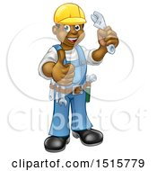 Cartoon Full Length Black Male Plumber Holding An Adjustable Wrench And Giving A Thumb Up
