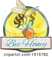 Clipart Of A Sketched Bee With A Jar Over Bee Honey Text And A Circle Royalty Free Vector Illustration