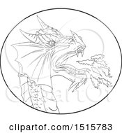 Sketched Black And White Fire Breathing Dragon In An Oval