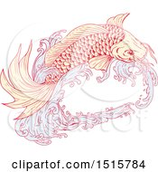 Clipart Of A Sketched Koi Fish Jumping With Waves Royalty Free Vector Illustration