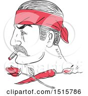 Clipart Of A Sketched Mexican Man In Profile Smoking A Cigar And Wearing Bandana Over A Burning Chili And Rose Royalty Free Vector Illustration