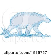Clipart Of A Sketched Walking Blue Polar Bear In Profile Royalty Free Vector Illustration by patrimonio