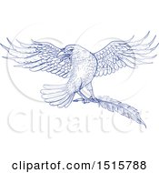 Clipart Of A Sketched Blue Raven Flying With A Quill Royalty Free Vector Illustration by patrimonio