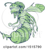 Clipart Of A Sketched Green And Blue Zombie Bee Royalty Free Vector Illustration