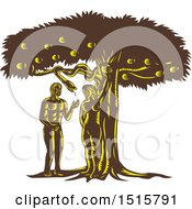 Clipart Of A Scene Of The Fall Of Man Adam With Eve In Garden Of Eden Royalty Free Vector Illustration by patrimonio