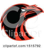 Clipart Of A Black And Red Raven Head In Profile Royalty Free Vector Illustration