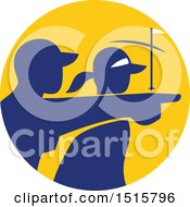 Clipart Of A Silhouetted Caddy And Golfer Pointing In A Yellow And Blue Circle Royalty Free Vector Illustration by patrimonio