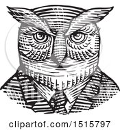 Clipart Of A Retro Woodcut Hipster Great Horned Owl In A Suit And Tie Royalty Free Vector Illustration by patrimonio