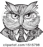 Clipart Of A Retro Woodcut Hipster Owl In A Suit And Tie Royalty Free Vector Illustration by patrimonio
