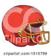 Sketched Red American Football Helmet On A White Background