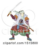 Clipart Of A Samurai Warrior With Katana Sword On A White Background Royalty Free Illustration by patrimonio