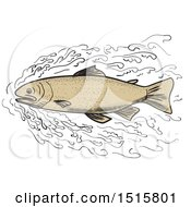 Brown Trout Forging Through Waves On A White Background
