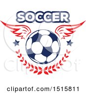 Clipart Of A Winged Soccer Ball With Text Stars And A Laurel Royalty Free Vector Illustration
