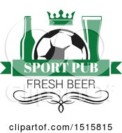 Clipart Of A Beer And Soccer Ball Sports Pub Design Royalty Free Vector Illustration