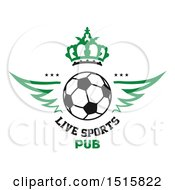 Clipart Of A Soccer Ball And Sports Pub Design With Wings And Crown Royalty Free Vector Illustration