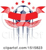 December 16th, 2017: Clipart Of A Soccer Ball Design With Streaks Stars A Banner And Wings Royalty Free Vector Illustration by Vector Tradition SM