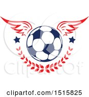 Clipart Of A Winged Soccer Ball With Stars And A Laurel Royalty Free Vector Illustration by Vector Tradition SM