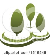Clipart Of A Gradient Green Park With Trees Royalty Free Vector Illustration