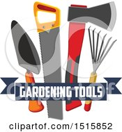 Clipart Of A Text Banner With Gardening Tools Royalty Free Vector Illustration by Vector Tradition SM