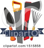 Clipart Of A Banner With Gardening Tools Royalty Free Vector Illustration