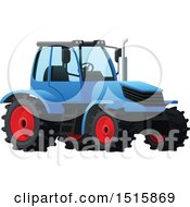 Clipart Of A Blue Tractor Royalty Free Vector Illustration