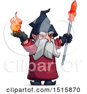 Clipart Of A Wizard Holding A Ball Of Fire And Wand Royalty Free Vector Illustration