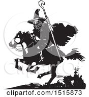 Clipart Of A Wizard Holding A Staff And Riding A Horse Black And White Woodcut Royalty Free Vector Illustration by xunantunich