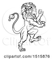Clipart Of A Black And White Heraldic Rampant Lion Royalty Free Vector Illustration by AtStockIllustration