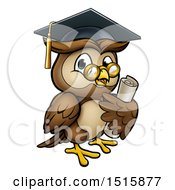 Clipart Of A Wise Professor Owl With Glasses And Graduation Cap Holding A Diploma Royalty Free Vector Illustration