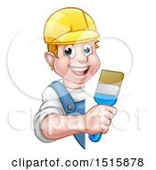 Cartoon Happy White Male Painter Holding A Brush Around A Sign