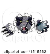 Clipart Of A Black Panther Mascot Shredding Through A Wall With A Bowling Ball Royalty Free Vector Illustration by AtStockIllustration