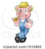 Happy Farmer Pig Mascot Wearing A Straw Hat Giving A Thumb Up And Chewing On Straw