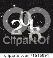 Clipart Of A Happy New Year 2018 Design With Sliver Sparkles Royalty Free Vector Illustration